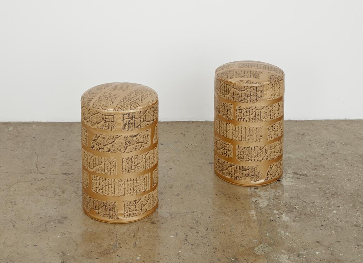 Artist Anna Kristensen Prop brick copper silkscreen painting pouf The Commercial Cover
